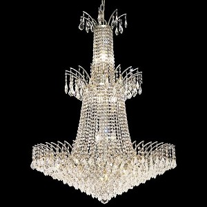 "Victoria Collection 18-Light 32"" Chrome Chandelier with Clear  Swarovski Strass Crystal 8033G32C/SS"
