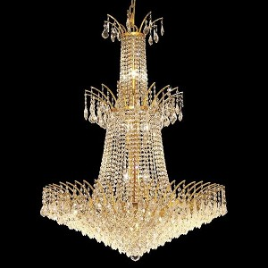 "Victoria Collection 18-Light 32"" Gold Chandelier with Clear Royal Cut Crystal 8033G32G/RC"
