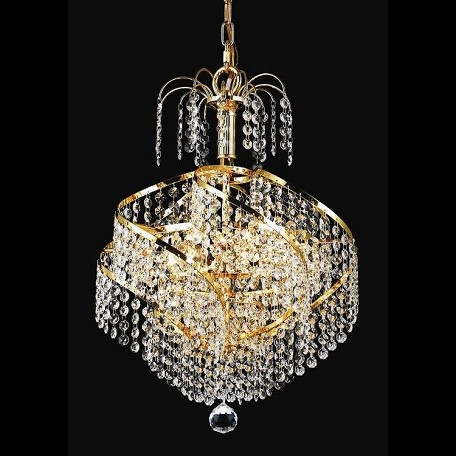 "Spiral Collection 3-Light 14"" Gold Mini Chandelier with Clear Swarovski Spectra Crystal 8052D14G/SA"