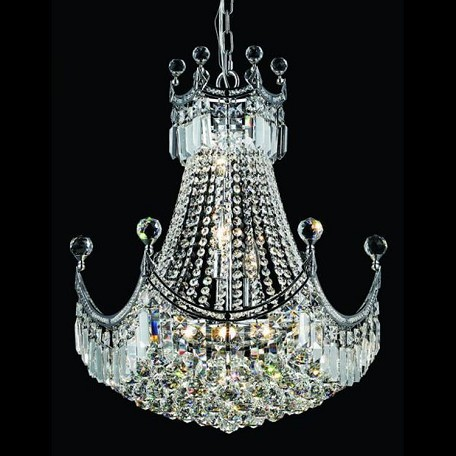 "Corona Collection 9-Light 20"" Chrome Chandelier with Clear  Swarovski Strass Crystal 8949D20C/SS"