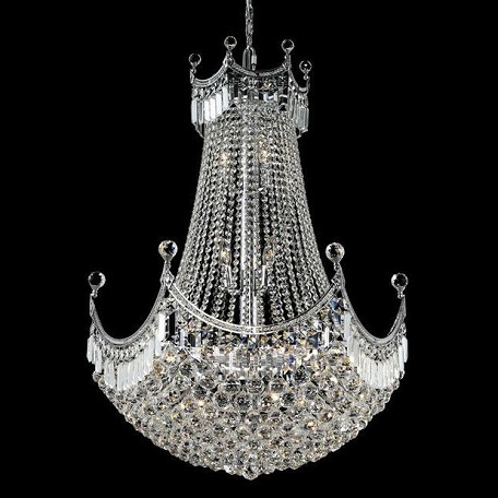 "Corona Collection 24-Light 30"" Chrome Chandelier with Clear Swarovski Spectra Crystal 8949D30C/SA"