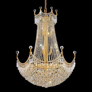 "Corona Collection 24-Light 30"" Gold Chandelier with Clear Swarovski Spectra Crystal 8949D30G/SA"