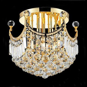 "Corona Collection 6-Light 16"" Gold Semi Flush Mount with Clear Swarovski Spectra Crystal 8949F16G/SA"