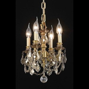 "Lillie Collection 4-Light 10"" French Gold Wall Sconce with Golden Teak Smoky Royal Cut Crystal 9104D10FG-GT/RC"