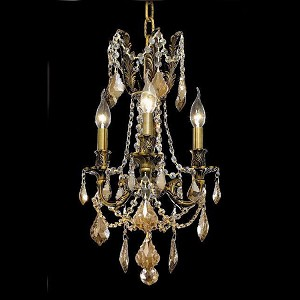 "Rosalia Collection 3-Light 13"" Antique Bronze Mini Chandelier with Golden Teak Smoky Royal Cut Crystal 9203D13AB-GT/RC"