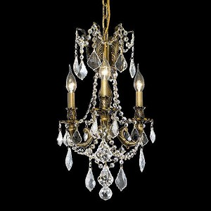 "Rosalia Collection 3-Light 13"" Antique Bronze Mini Chandelier with Clear Elegant Cut Crystal 9203D13AB/EC"