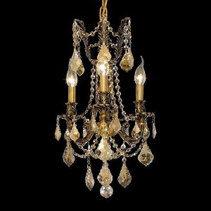 "Rosalia Collection 3-Light 13"" French Gold Mini Chandelier with Golden Teak Smoky Swarovski Strass Crystal 9203D13FG-GT/SS"