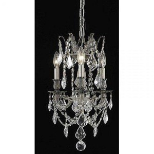 "Rosalia Collection 3-Light 13"" Pewter Mini Chandelier with Clear Royal Cut Crystal 9203D13PW/RC"