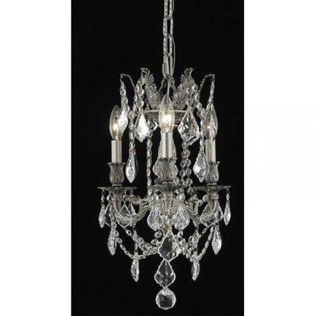 "Rosalia Collection 3-Light 13"" Pewter Mini Chandelier with Clear Swarovski Spectra Crystal 9203D13PW/SA"