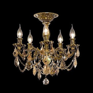 "Rosalia Collection 5-Light 18"" French Gold Semi Flush Mount with Golden Teak Smoky Royal Cut Crystal 9205F18FG-GT/RC"