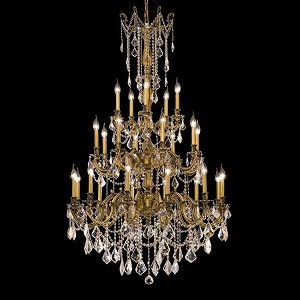 "Rosalia Collection 25-Light 38"" French Gold Chandelier with Clear Elegant Cut Crystal 9225G38FG/EC"