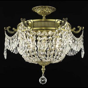"Esperanza Collection 6-Light 18"" Antique Bronze Semi Flush Mount with Clear Elegant Cut Crystal 9306F18AB/EC"