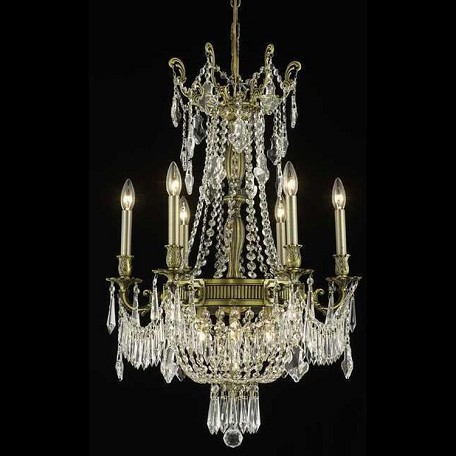 "Esperanza Collection 9-Light 22"" Antique Bronze Chandelier with Clear Swarovski Spectra Crystal 9309D22AB/SA"