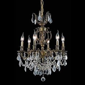 "Marseille Collection 6-Light 20"" Antique Bronze Chandelier with Golden Shadow Champagne Swarovski Strass Crystal 9506D20AB-GS/SS"