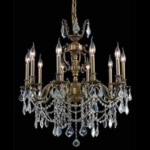"Marseille Collection 10-Light 28"" Antique Bronze Chandelier with Clear Elegant Cut Crystal 9510D28AB/EC"