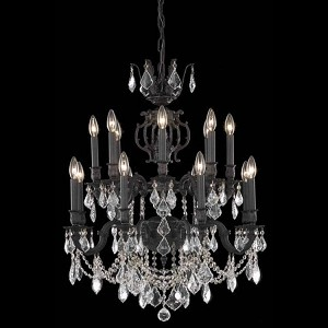 "Marseille Collection 16-Light 28"" Dark Bronze Chandelier with Clear Royal Cut Crystal 9516D28DB/RC"