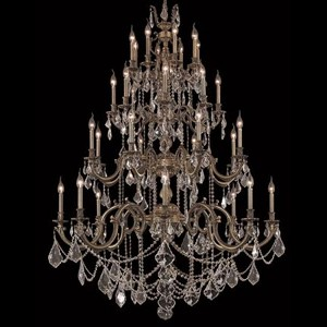 "Marseille Collection 32-Light 48"" Antique Bronze Chandelier with Golden Shadow Champagne Royal Cut Crystal 9532G48AB-GS/RC"