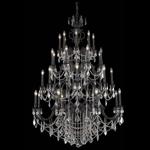 "Marseille Collection 32-Light 48"" Dark Bronze Chandelier with Golden Shadow Champagne Royal Cut Crystal 9532G48DB-GS/RC"