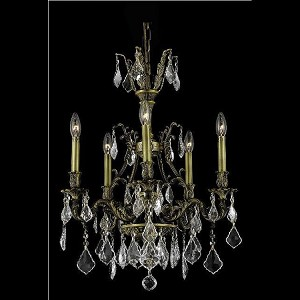 "Monarch Collection 5-Light 21"" Antique Bronze Chandelier with Clear Swarovski Spectra Crystal 9605D21AB/SA"