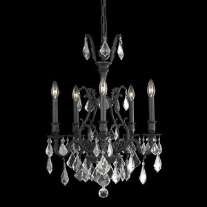 "Monarch Collection 5-Light 21"" Dark Bronze Chandelier with Golden Shadow Champagne Royal Cut Crystal 9605D21DB-GS/RC"