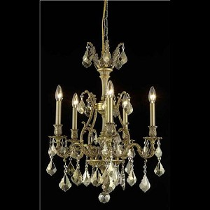 "Monarch Collection 5-Light 21"" French Gold Chandelier with Golden Teak Smoky Royal Cut Crystal 9605D21FG-GT/RC"
