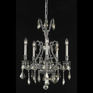 "Monarch Collection 5-Light 21"" Pewter Chandelier with Golden Teak Smoky Royal Cut Crystal 9605D21PW-GT/RC"