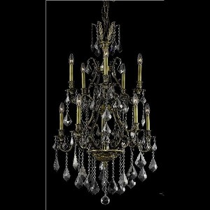 "Monarch Collection 10-Light 26"" Antique Bronze Chandelier with Clear  Swarovski Strass Crystal 9610D26AB/SS"