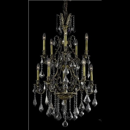 "Monarch Collection 10-Light 26"" Antique Bronze Chandelier with Silver Shade Grey Swarovski Strass Crystal 9610D26AB-SS/SS"