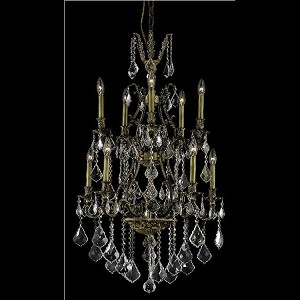 "Monarch Collection 10-Light 26"" Antique Bronze Chandelier with Golden Shadow Champagne Swarovski Strass Crystal 9610D26AB-GS/SS"