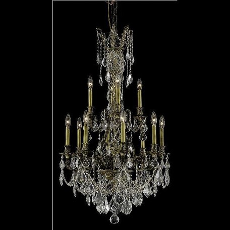 "Monarch Collection 12-Light 25"" Antique Bronze Chandelier with Golden Shadow Champagne Royal Cut Crystal 9612D25AB-GS/RC"