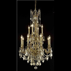 "Monarch Collection 12-Light 25"" French Gold Chandelier with Golden Teak Smoky Royal Cut Crystal 9612D25FG-GT/RC"