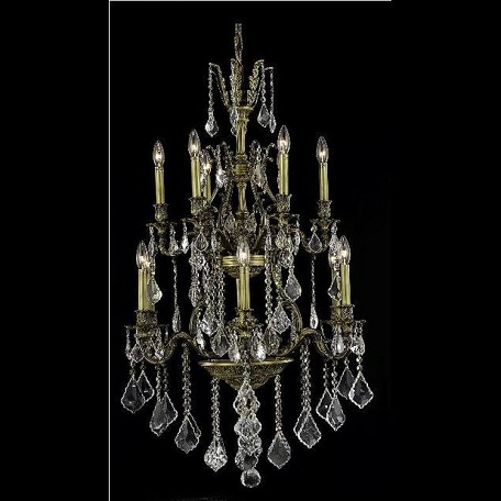 "Monarch Collection 12-Light 27"" Antique Bronze Chandelier with Golden Shadow Champagne Royal Cut Crystal 9612D27AB-GS/RC"