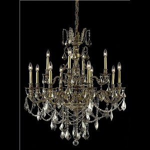 "Monarch Collection 12-Light 35"" French Gold Chandelier with Golden Teak Smoky Royal Cut Crystal 9612D35FG-GT/RC"