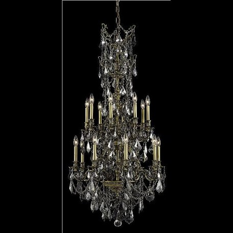 "Monarch Collection 16-Light 27"" Antique Bronze Chandelier with Silver Shade Grey Swarovski Strass Crystal 9616D27AB-SS/SS"