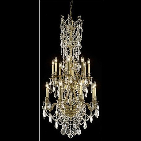 "Monarch Collection 16-Light 27"" French Gold Chandelier with Clear Elegant Cut Crystal 9616D27FG/EC"
