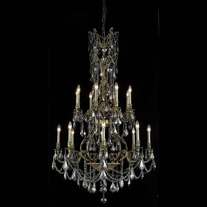 "Monarch Collection 16-Light 37"" Antique Bronze Chandelier with Clear  Swarovski Strass Crystal 9616G37AB/SS"