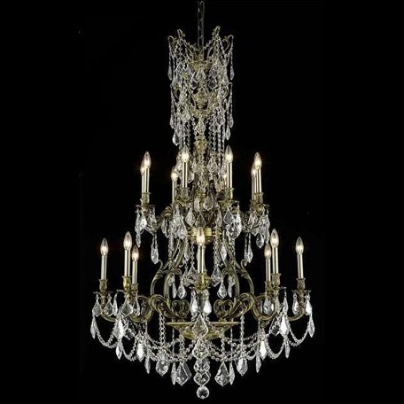 "Monarch Collection 16-Light 37"" Antique Bronze Chandelier with Golden Shadow Champagne Swarovski Strass Crystal 9616G37AB-GS/SS"