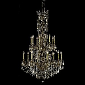 "Monarch Collection 16-Light 37"" French Gold Chandelier with Golden Teak Smoky Swarovski Strass Crystal 9616G37FG-GT/SS"