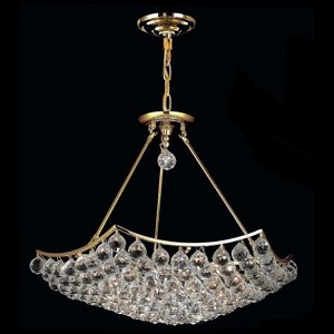 "Corona Collection 12-Light 26"" Gold Semi Flush Mount with Clear Royal Cut Crystal 9802D26G/RC"