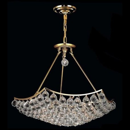 "Corona Collection 12-Light 26"" Gold Semi Flush Mount with Clear Swarovski Spectra Crystal 9802D26G/SA"