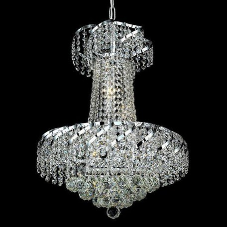 "Belenus Collection 6-Light 18"" Chrome Chandelier with Clear Swarovski Spectra Crystal ECA1D18C/SA"