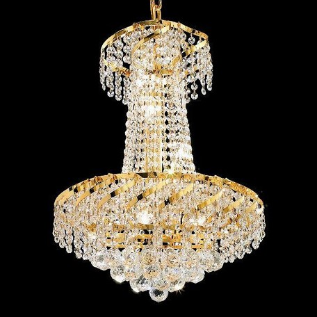 "Belenus Collection 6-Light 18"" Gold Chandelier with Clear Swarovski Spectra Crystal ECA1D18G/SA"
