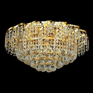 "Belenus Collection 8-Light 20"" Gold Flush Mount with Clear Royal Cut Crystal ECA1F20G/RC"