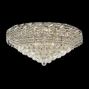 "Belenus Collection 10-Light 26"" Chrome Flush Mount with Clear Swarovski Spectra Crystal ECA1F26C/SA"
