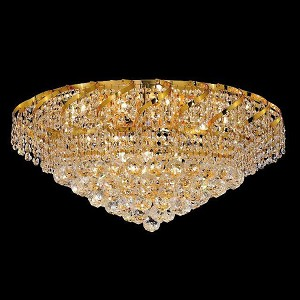 "Belenus Collection 10-Light 26"" Gold Flush Mount with Clear Swarovski Spectra Crystal ECA1F26G/SA"