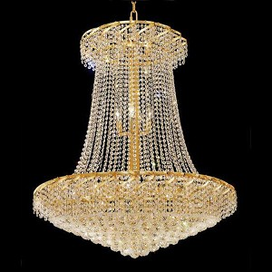 "Belenus Collection 22-Light 36"" Gold Chandelier with Clear Swarovski Spectra Crystal ECA1G36SG/SA"