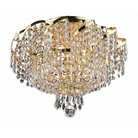 "Belenus Collection 6-Light 16"" Gold Semi Flush Mount with Clear Swarovski Spectra Crystal ECA2F16G/SA"