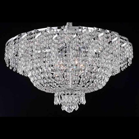 "Belenus Collection 10-Light 26"" Chrome Flush Mount with Clear  Swarovski Strass Crystal ECA2F26C/SS"