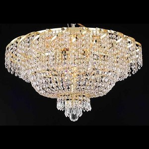 "Belenus Collection 10-Light 26"" Gold Flush Mount with Clear Elegant Cut Crystal ECA2F26G/EC"