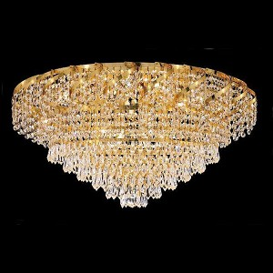 "Belenus Collection 10-Light 26"" Gold Flush Mount with Clear Royal Cut Crystal ECA4F26G/RC"